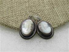 Vintage Sterling Silver Abalone Mother-of-Pearl Cameo