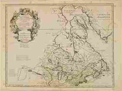 1783 Delisle/Dezauche Map of Great Lakes and Canada --
