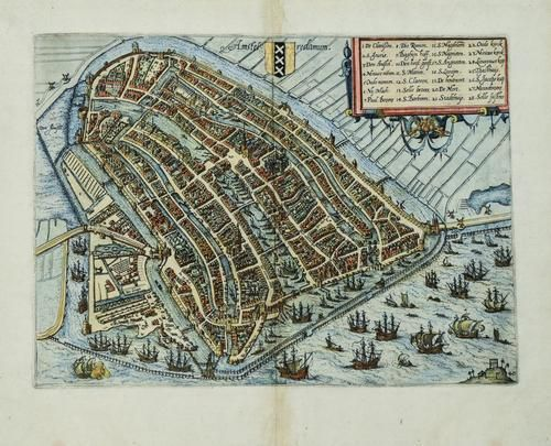 1581 c. Guicciardini View of Amsterdam -- Amstelredamum