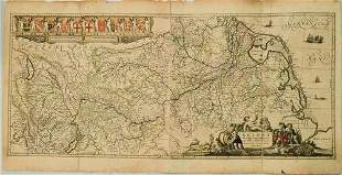 1636 Jansson Map of the Course of the Rhine River --