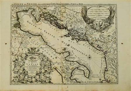 1693 Jaillot Map of the Adriatic Sea and Much of Italy