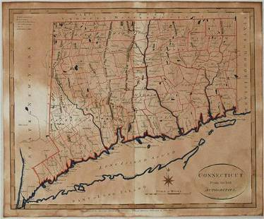 1796 Reid Map of Connecticut -- Connecticut from the