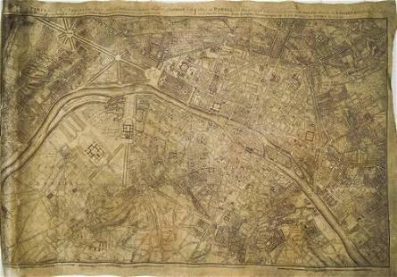 1754 Rocque Map of Paris on Linen -- A Plan of Paris