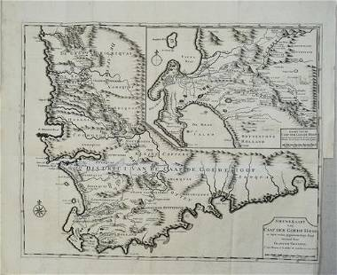 1726 Valentyn Map of the Cape of Good Hope -- Nieuwe
