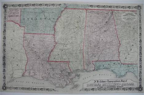 J. H. Colton's Topographical Map of Louisiana,