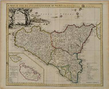 1721 Senex Map of Sicily and Malta -- A Map of the