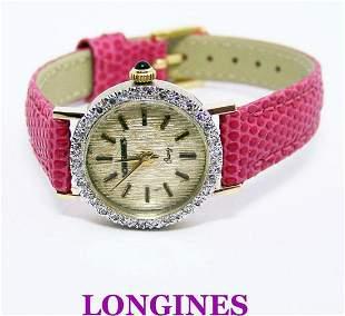 4k LONGINES Ladies Quartz Watch with 0.50 ct Diamonds