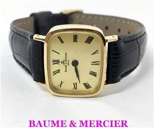 18k Gold BAUME & MERCIER Ladies Back Winding Watch