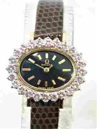 Solid 14k OMEGA Ladies Watch with 1.5 ct Diamonds FVS1
