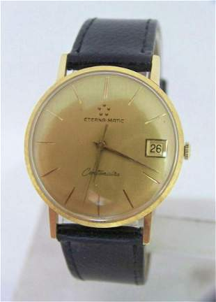 Solid 18k ETERNA-MATIC CENTANAIR DATE Watch c.1970s