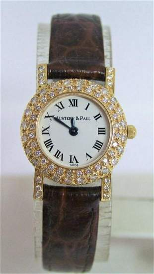 Solid 18k Ladies AUSTERN & PAUL Watch with 1 Ct VS