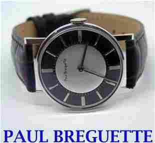 Solid 14k White PUAL BREGUETTE Mens Winding Watch