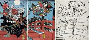 Utagawa YOSHIFUJI, Minamoto Yoshitsune and Benkei on