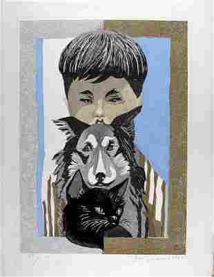 SEKINO Jun'ichiro, Boy with dog and cat (numbered FIRST
