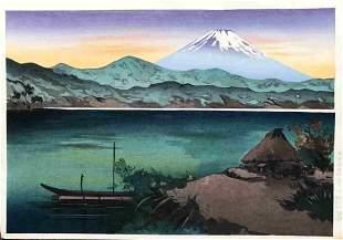 MASAO YOSHIMOTO (1914-1988) - MT FUJI SUNSET FROM LAKE