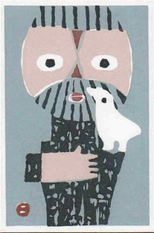 UMETARO AZECHI (1902-1999) - MT MAN AND BIRD