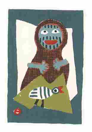 UMETARO AZECHI (1902-1999) - MT WOMAN AND BIRD
