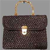 Vtg 1950's Forsum Rare black real Raffia/Straw handbag