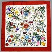 "GUCCI V. ACCORNERO 100% Silk Floral Scarf 34""X34"" made"