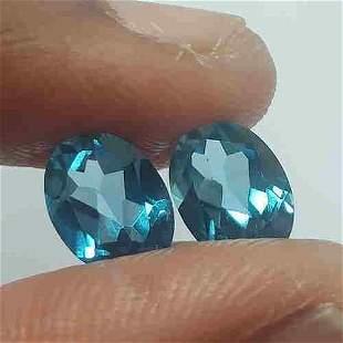 3.10Cts 2Pcs Marvelous! Natural Swiss Blue Topaz Oval