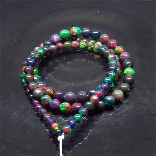 40.37 Ct Natural 97 Drilled Black Opal Ball Beads