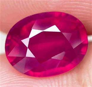 3,78 cts Natural Big Oval Blood Red Ruby