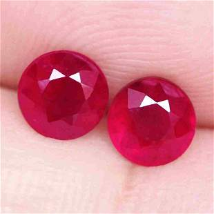 1,67 cts Pair of Natural Round Red Ruby