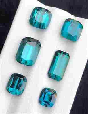 9.5 Carats Top Blue Tourmaline 6 Pieces Collection