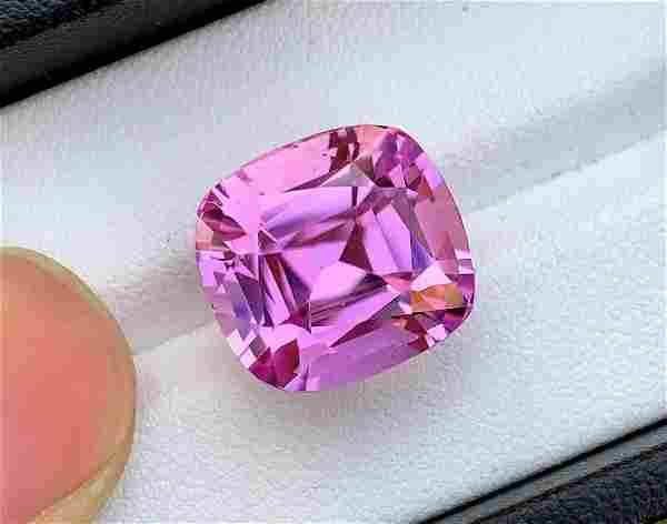 Deep Pink Kunzite Spodumene Loose Gemstone Cushion Cut