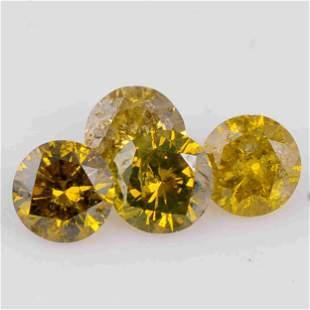 1.76 Carat Natural Fancy Mix Yellow Color Natural Round