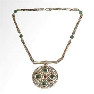 Byzantine Silver and Emerald Necklace with Pendant, c.