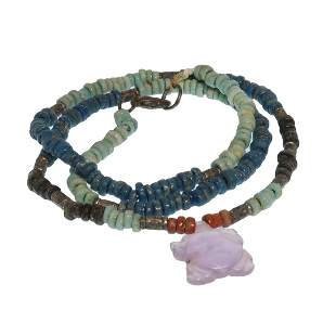 Egyptian Faience Necklace with Amethyst Tortoise