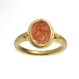 Roman Gold Ring with Stag Intaglio