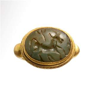 Roman Solid Gold Ring, Serpentine Intaglio with Stag