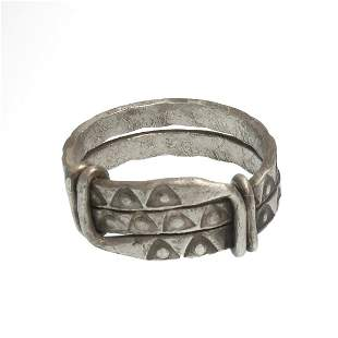 Viking Solid Silver Ring with Wolf's Tooth Decoration,