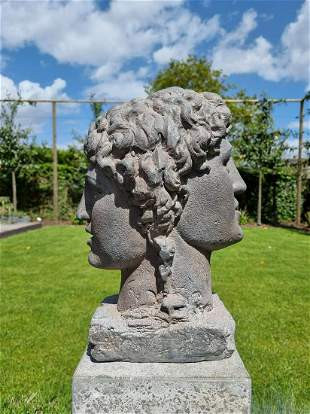 Two-headed bust Classical garden statues Mythical decor