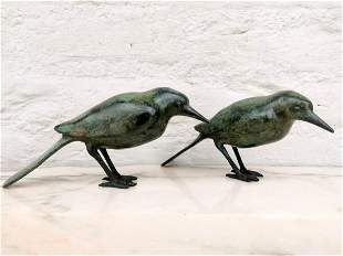 Pair of bronze birds Bird ornaments Easter decoration