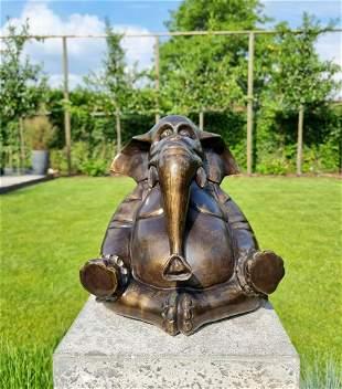 Meditating Elephant Bronze Sculpture
