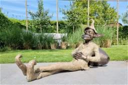 Large resting garden gnome Bronze lawn art Bronze