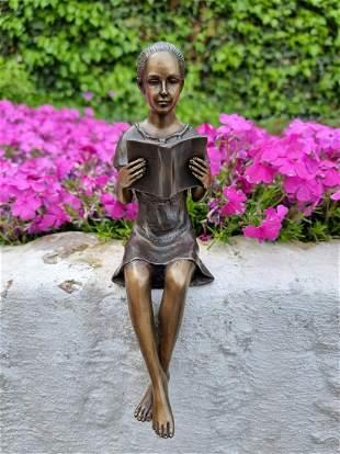Girl reading a book Bronze figurine Bronze ornaments