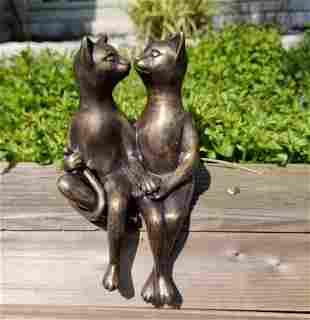 Cuddling cats Cats in love garden ornaments