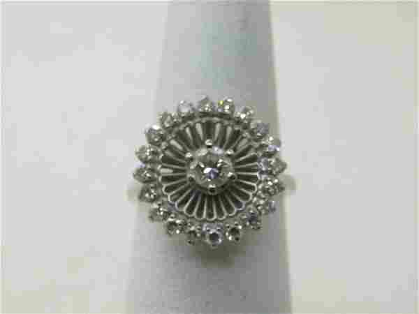 Vintage Jabel 18kt Diamond Halo Ring, Sz. 6.5, Early