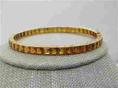"""Antique 18kt Citrine Hinged Bracelet, 6.75"""",  Appz."""