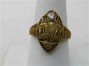 18kt Masonic Antique Order of Amaranth Ring. 5 CTW