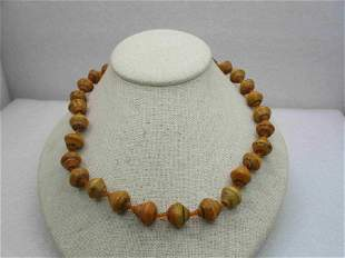 """Vintage Tan Celluloid/Plastic Beaded Necklace 19.5"""","""