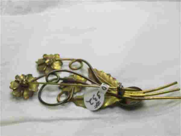 Vintage Gold over Sterling Floral Brooch, 1940's, Art