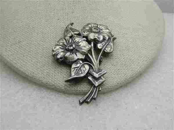 "Vintage Sterling Silver Floral Brooch, Dahlia, 3.25"","