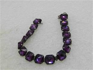 Vintage Sterling Leach & Miller Rhinestone Bracelet,