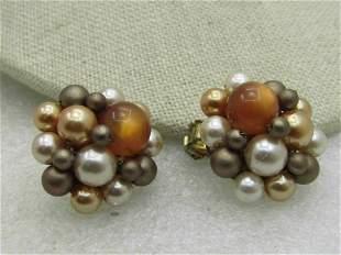 Vintage Japan Beaded Clip Earrings, Tan/Amber/Cream,