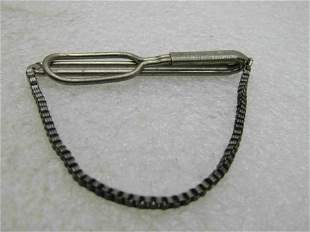 Vintage Swank Sterling Silver Tie Bar with Chain,